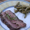 Grilled flank steak marinated in red wine and herbs