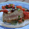 Grilled tuna with tomato relish