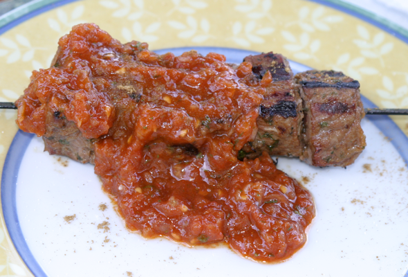 Moroccan beef kebab with tomato relish